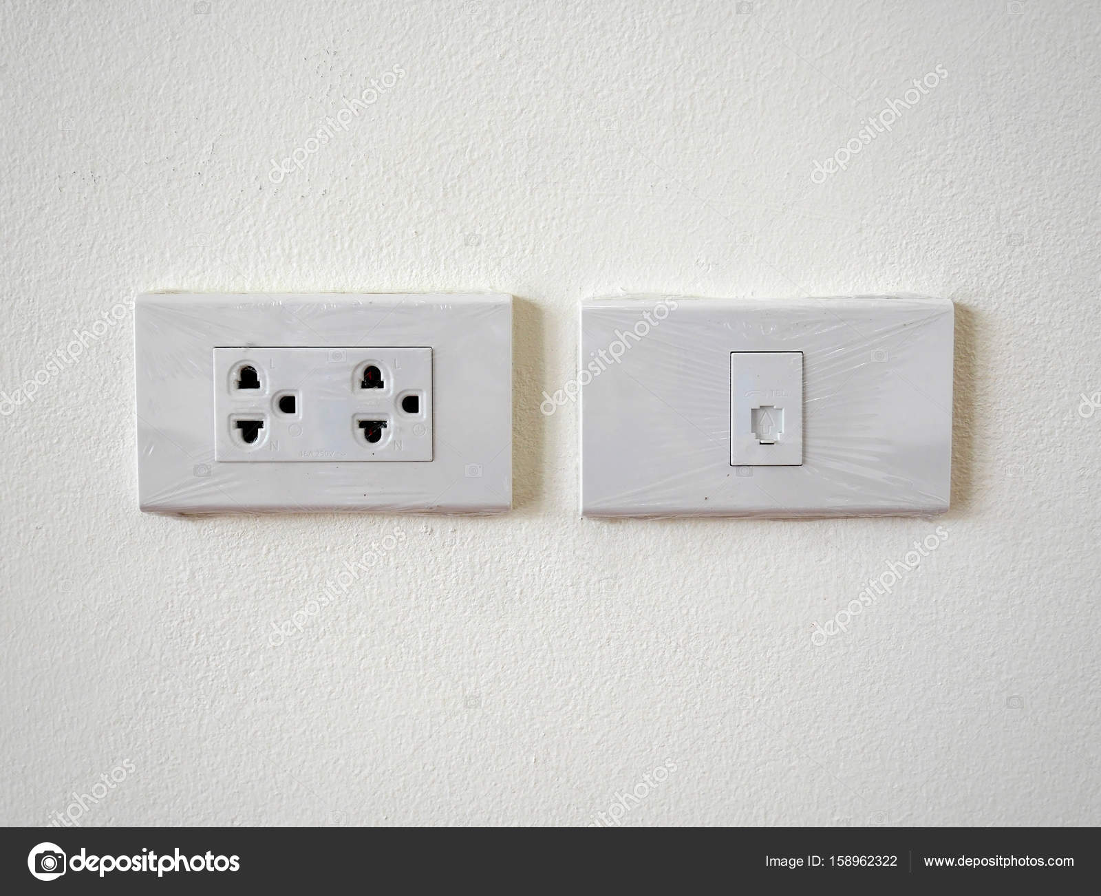 Southeast Asia Power Outlet And Phone Jack Newly Installed With How To Install Electrical Light Switch Plastic Cover Still Attached