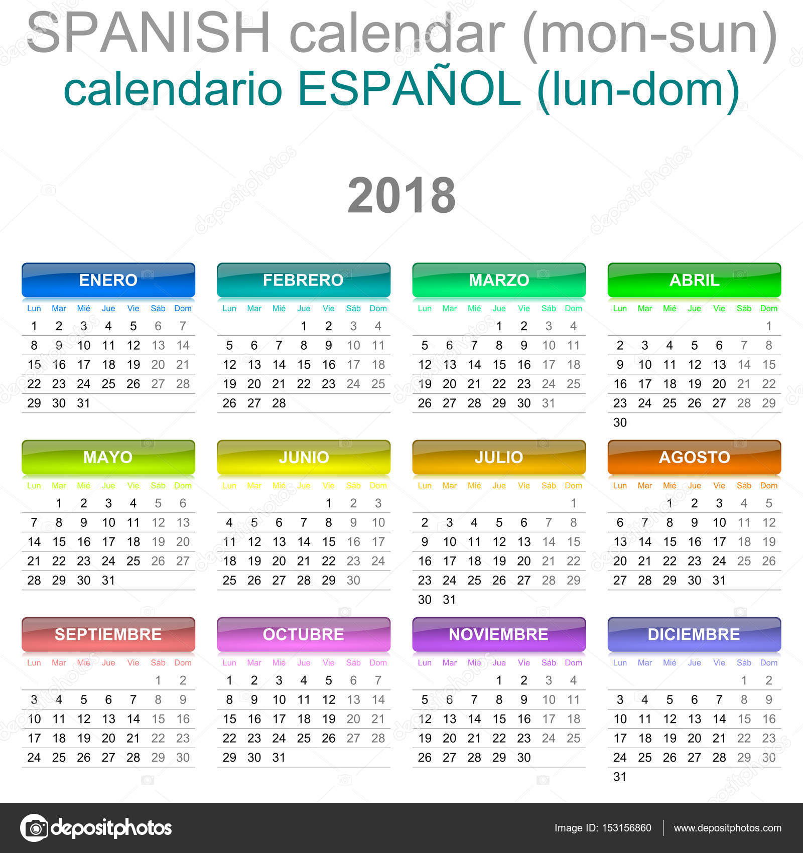 2018 calendar spanish language version monday to sunday stock photo