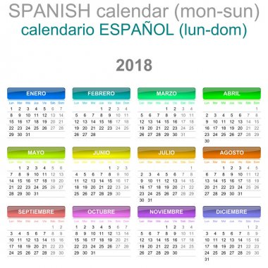 2018 Calendar Spanish Language Version Monday to Sunday