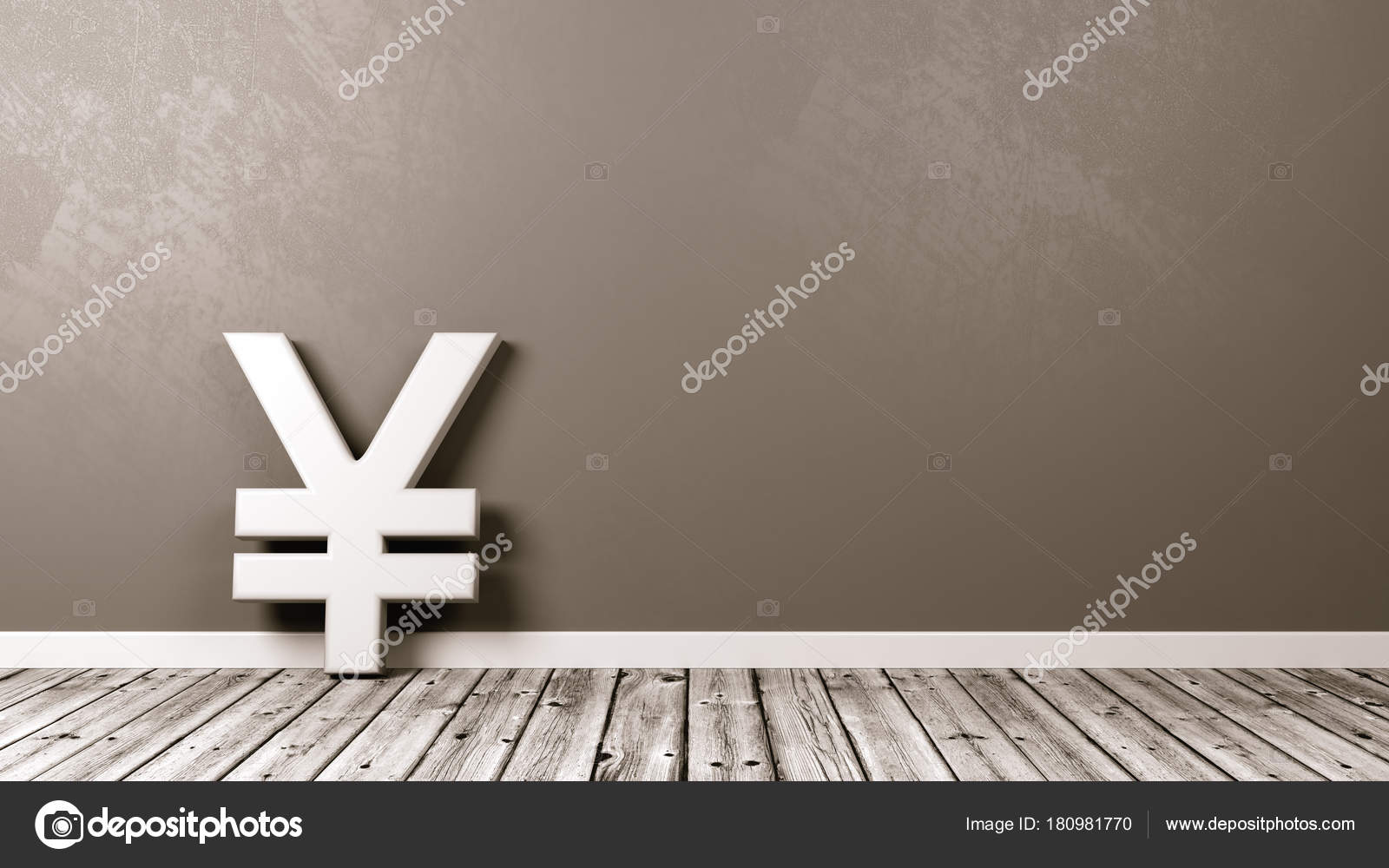 Yen Or Yuan Currency Sign On Wooden Floor Against Wall Stock Photo