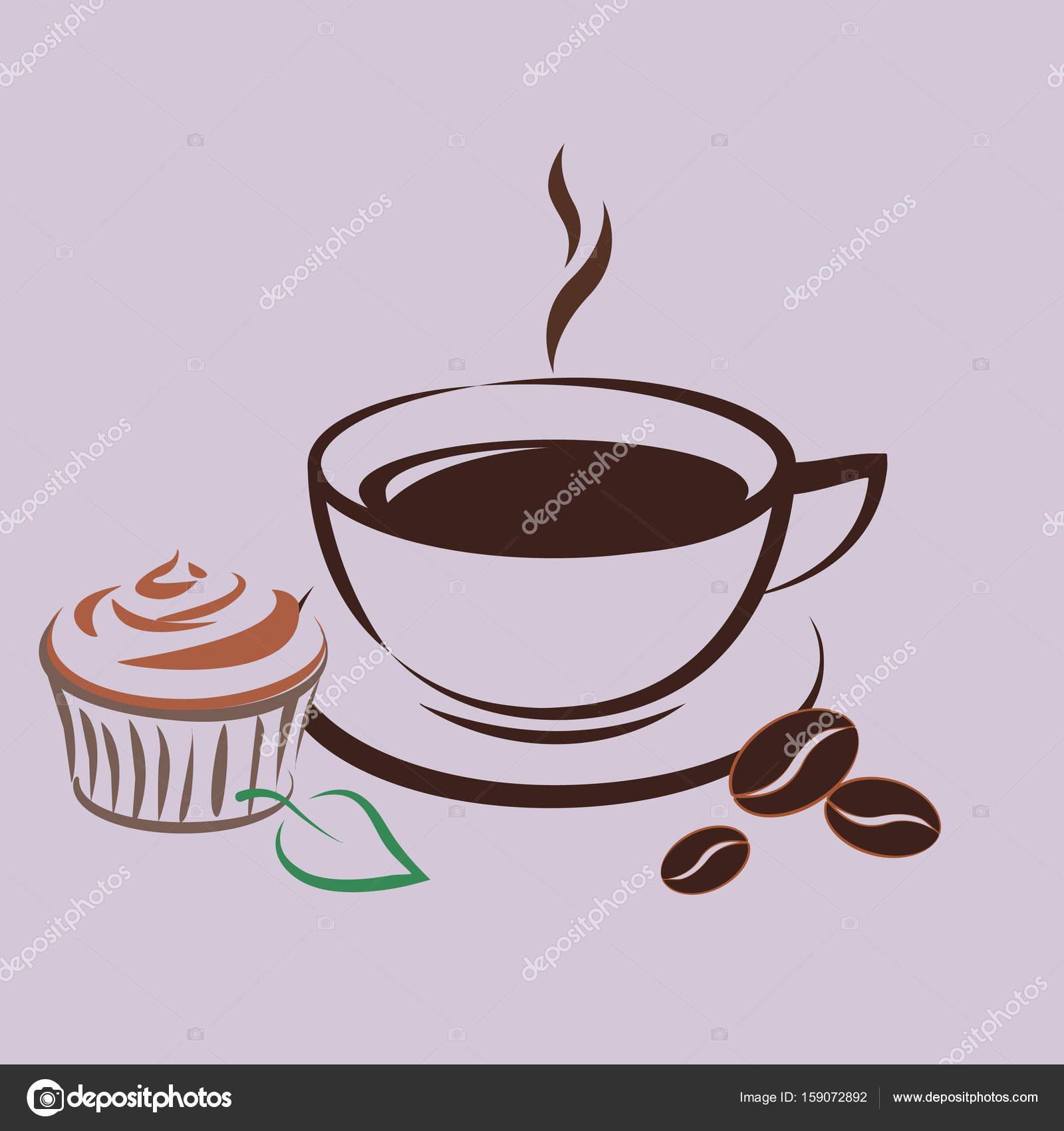 Vektor Icon Kaffee Becher Mit Kuchen Logo Stockvektor