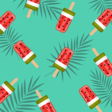 Banner with watermelon Ice Creams