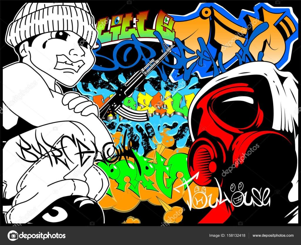 Fotos graffitis las fotos de graffitis son pintadas en la pared vector de stock - Graffitis en paredes ...