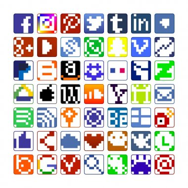 The pixel social media icons and the regular icons for a phone.