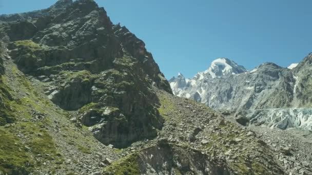 Panoramic view mountain peak. Top view landscape mountains peak snow.