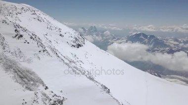Beautiful view snow peak mountain. Top view amazing landscape winter mountain