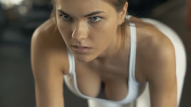 Portrait Fitness Woman Lifting Dumbbells For Training Muscle Back In Gym Club