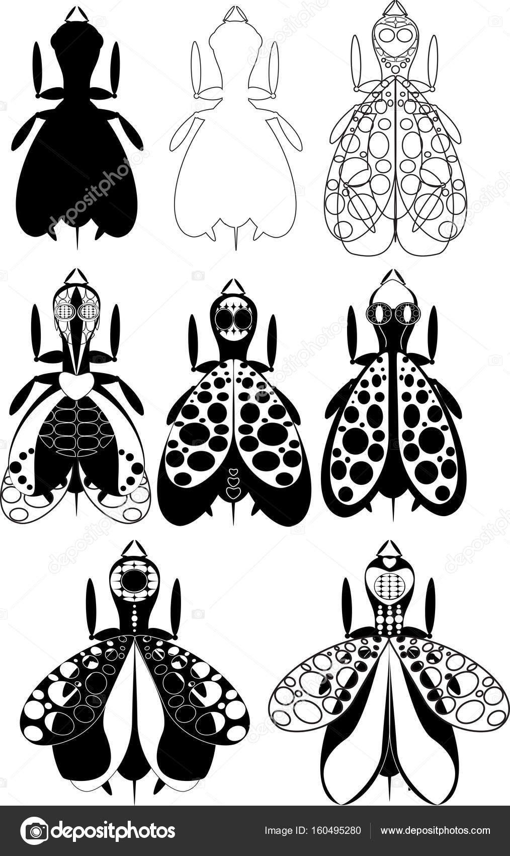 Una Gran Cantidad De Moscas Surtido De Escarabajos Abstractos - Opciones-de-tatuajes