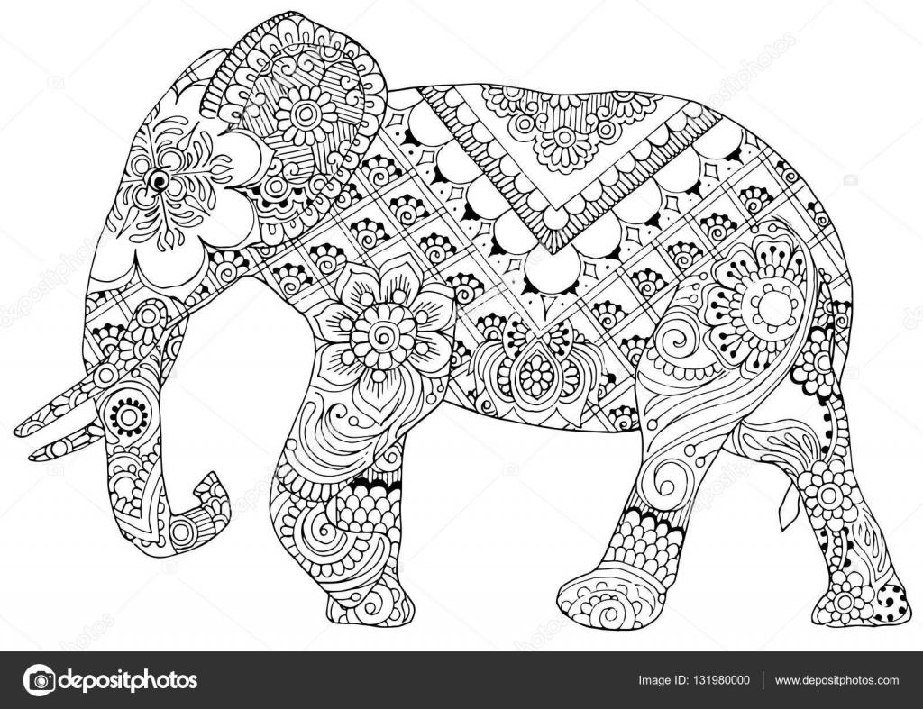 Elefant mit indischen Mustern — Stockvektor © roman4 #131980000