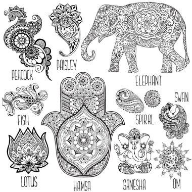Lotus, hamsa, elephant, Ganesha and other symbols used in mihendi. stock vector