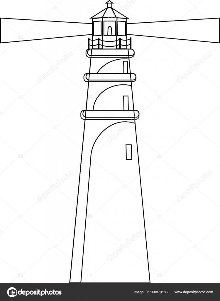 Contorno de silueta Faro vector ilustración en blanco y negro ...