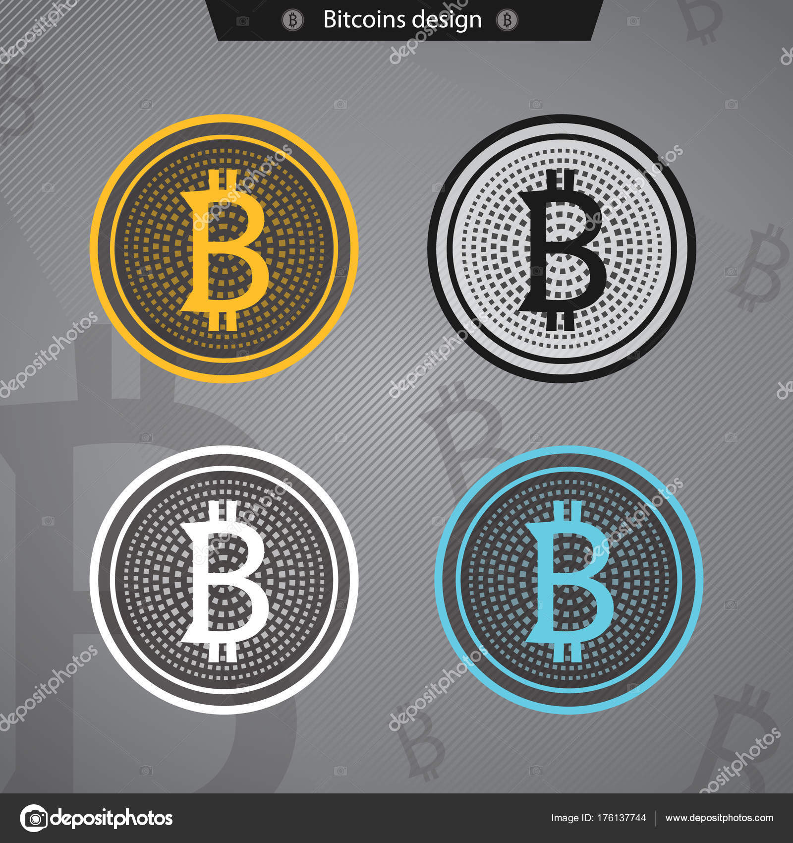 Bitcoin Icon Bit Coin Crypto Mining Logo Business Wallet Security Currency Exchange Vector Item Flat Virtual Payment Finance Symbol