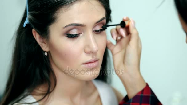 Make-up. Applying Mascara. Long Eyelashes