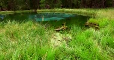Amazing blue geyser lake in the mountains of Altai