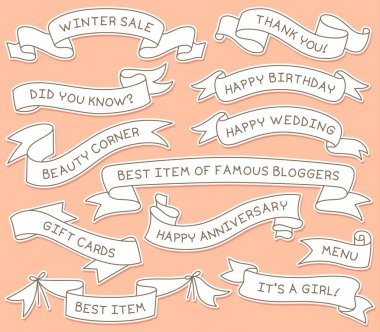 Hand Drawn Ribbon Banners Set with Handwritten Messages