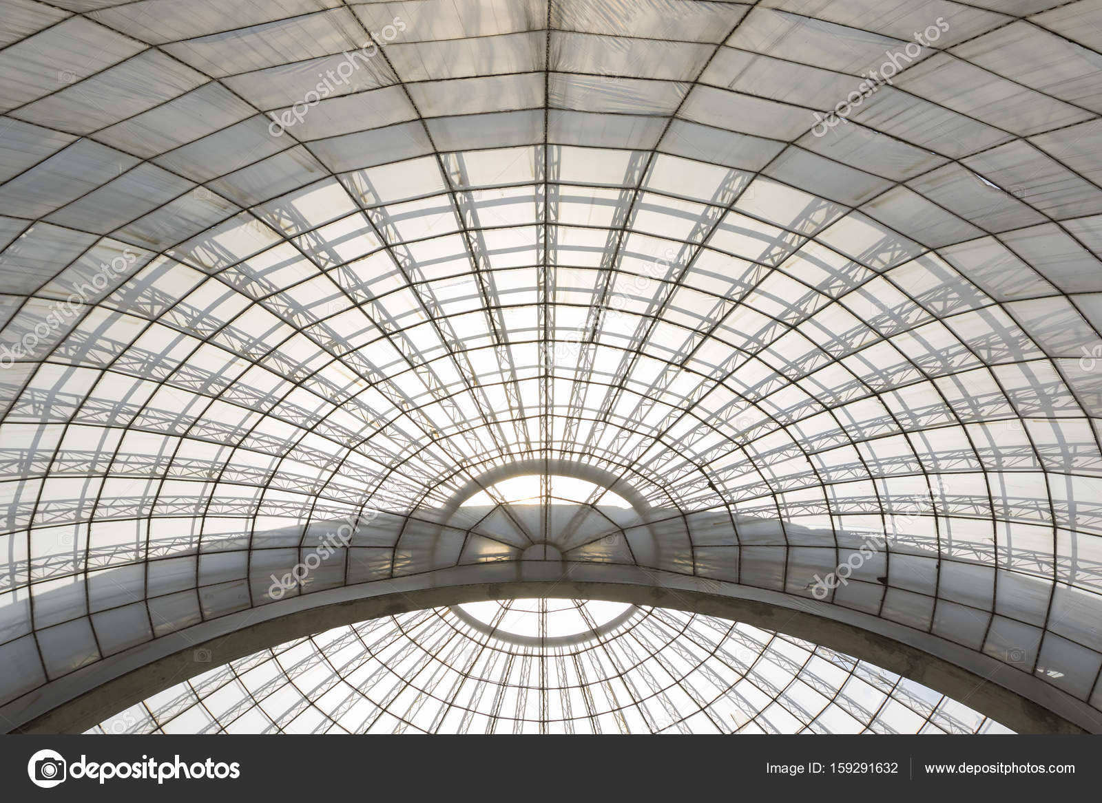 greenhouse symmetrical dome curved structure seen from below — Stock on