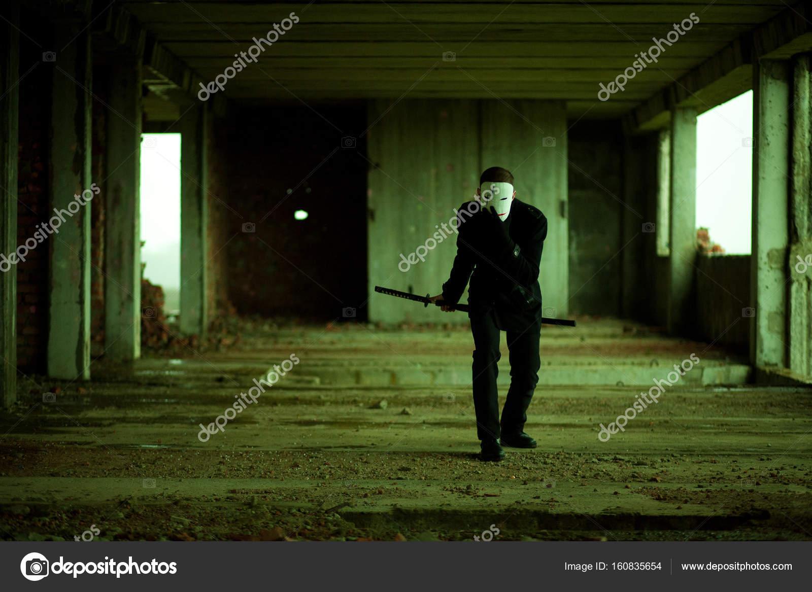 The Man In Black With A Samurai Sword Katana In An Abandoned Building Stock Photo C Laeda 160835654