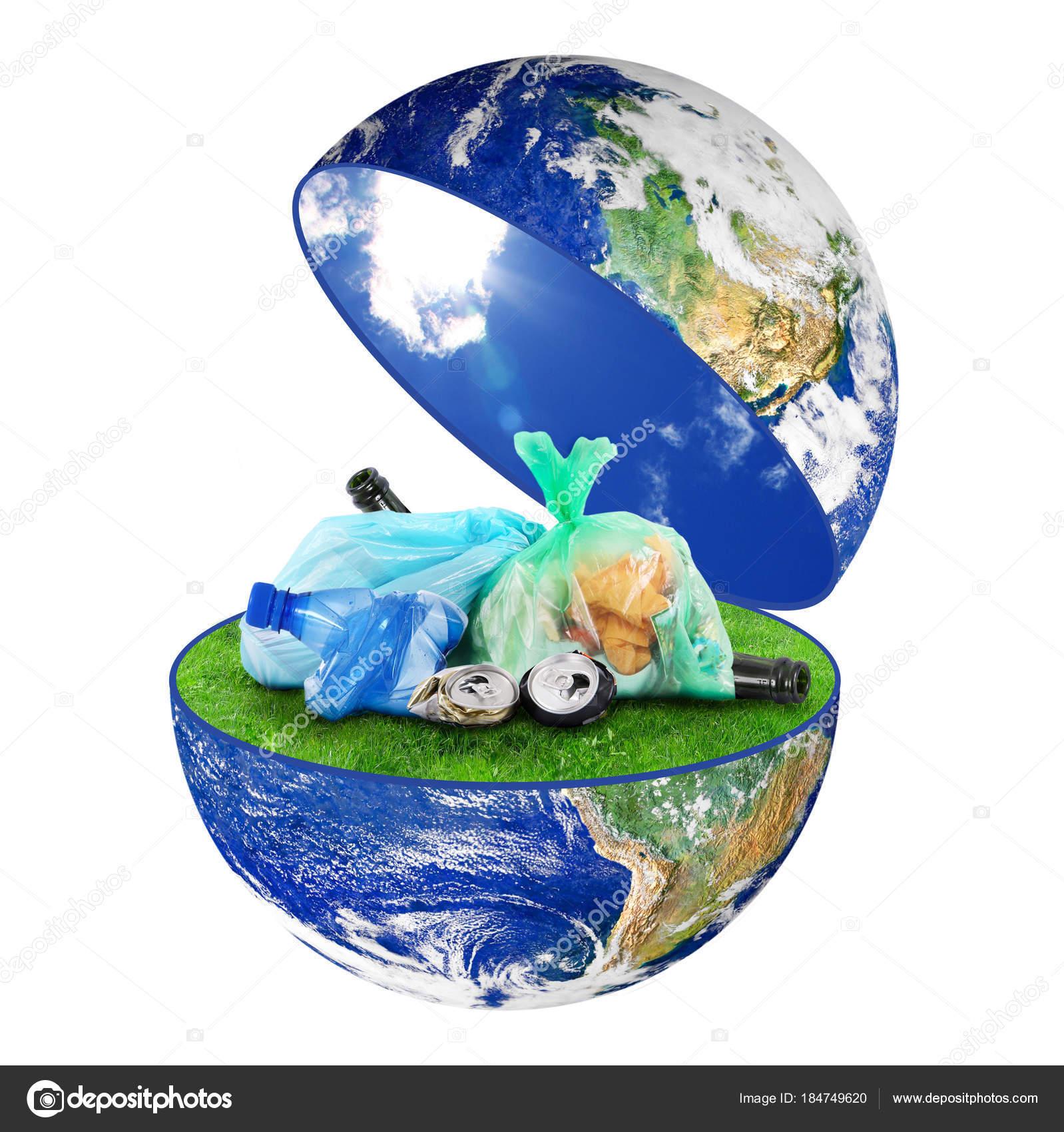 Planète Terre Des Ordures Sur Fond Blanc Photographie