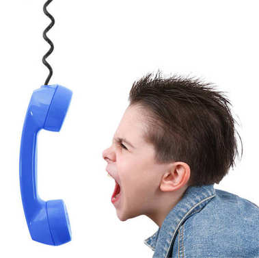 boy in anger with blue phone