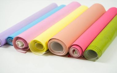 Different colors of leather rolls for artwork and craft