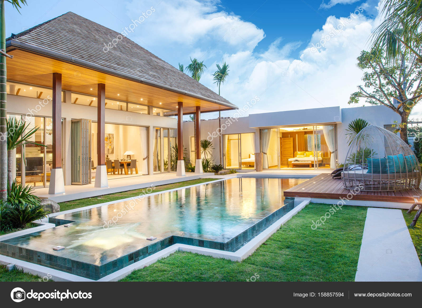 Interior and exterior design of pool villa which features for Pool exterior design