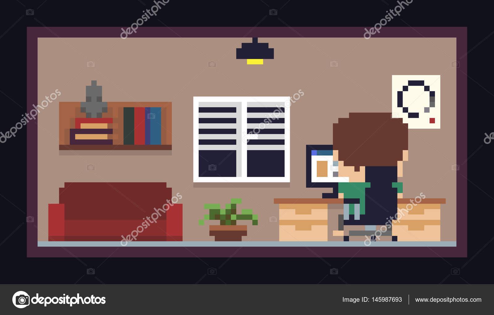 pixel art room stock vector chuckchee 145987693