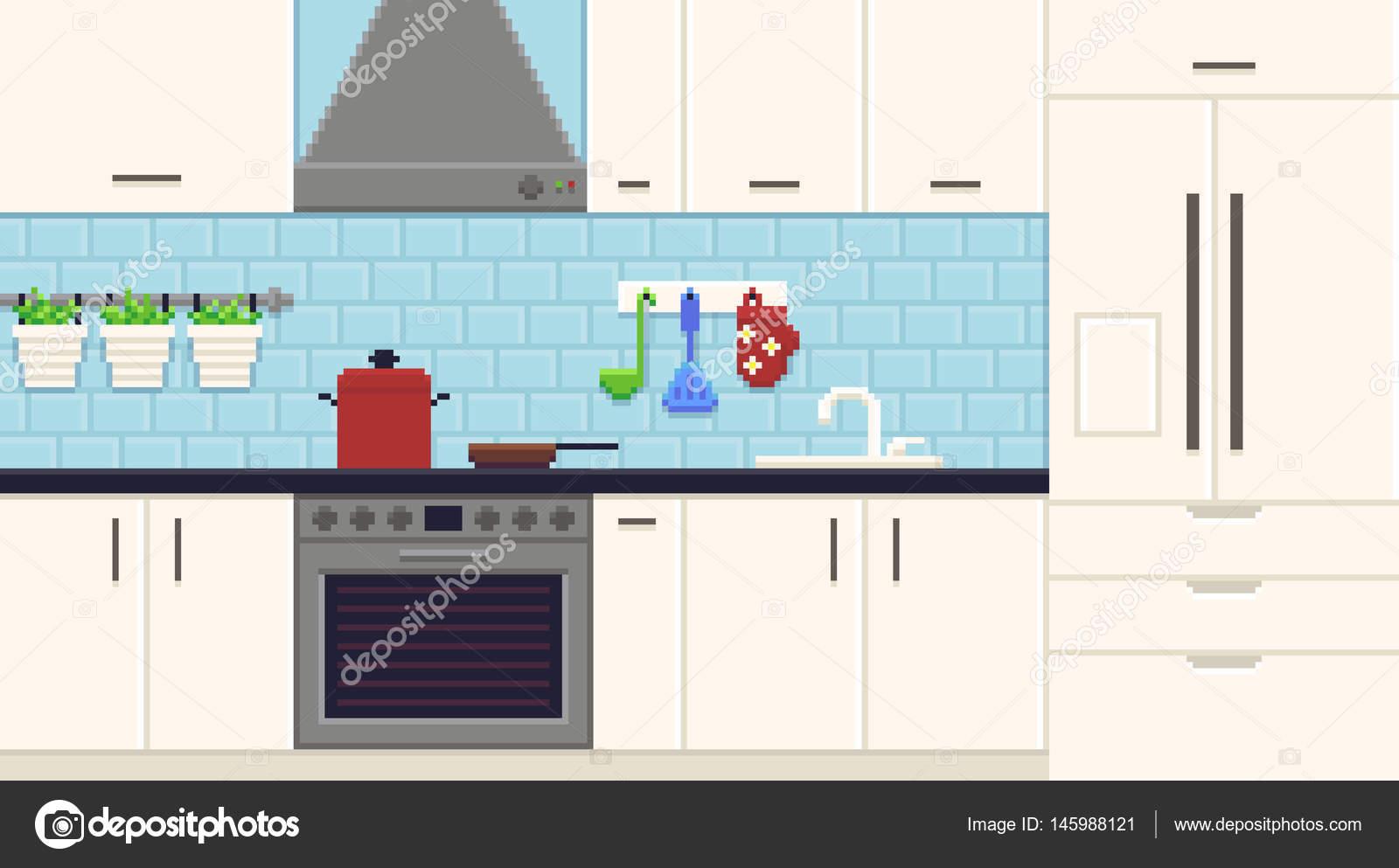 Wspaniały Pixel Art kuchnia — Grafika wektorowa © chuckchee #145988121 KG02