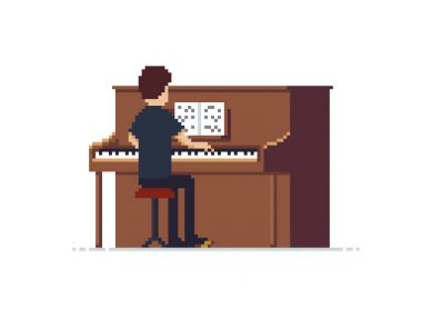 Pixel Art Piano Player
