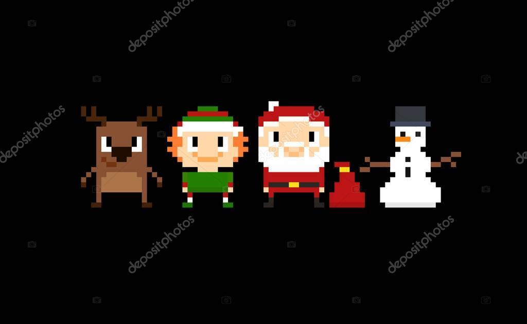 Pixel Christmas Background