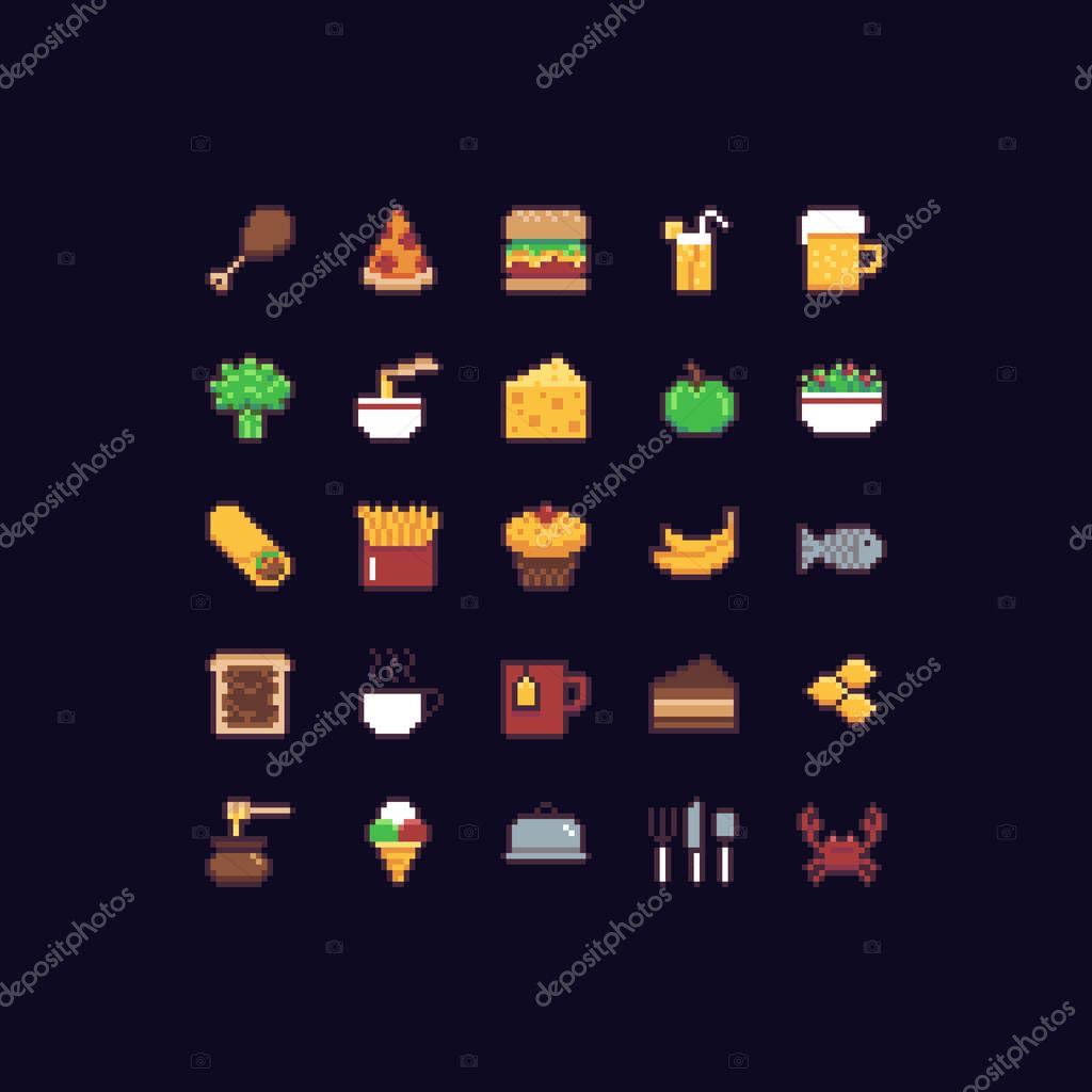 depositphotos_156729338-stock-illustration-pixel-art-food-icons Pixel Art Food @koolgadgetz.com.info