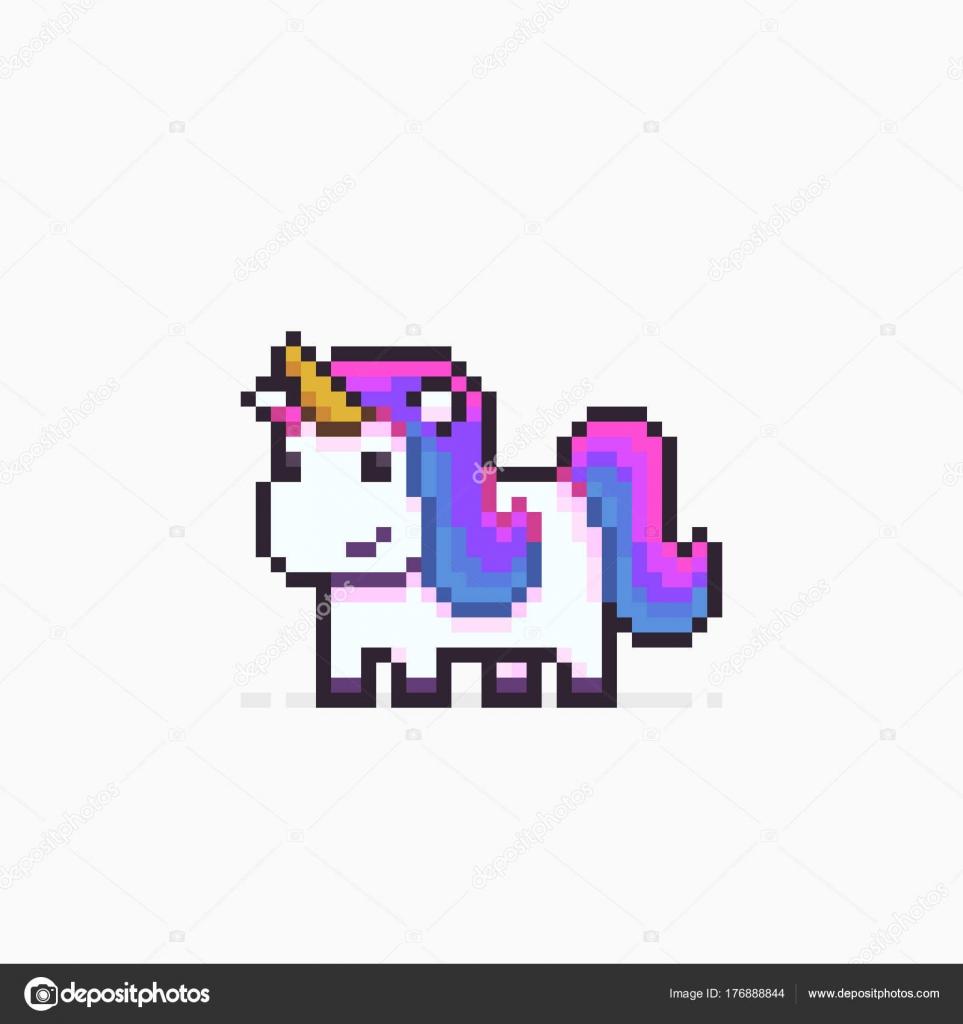 Pixel Art Unicorn Stock Vector Chuckchee 176888844