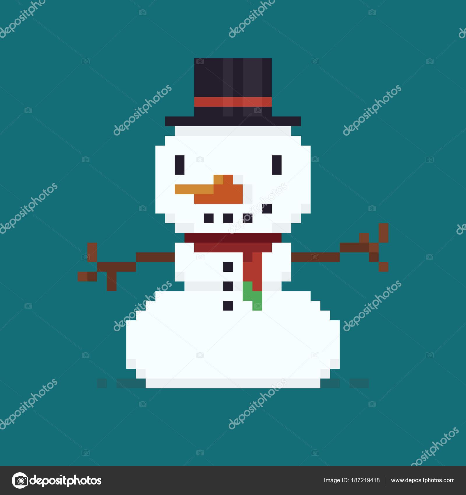 Pixel Art Bonhomme De Neige Image Vectorielle Chuckchee 187219418