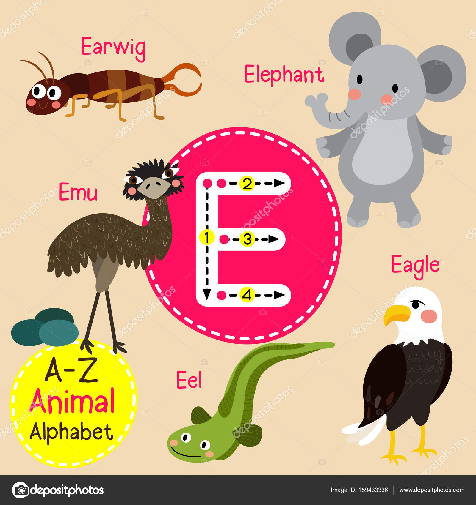 Cute Children Zoo Alphabet E Letter Tracing Of Funny Animal Cartoon