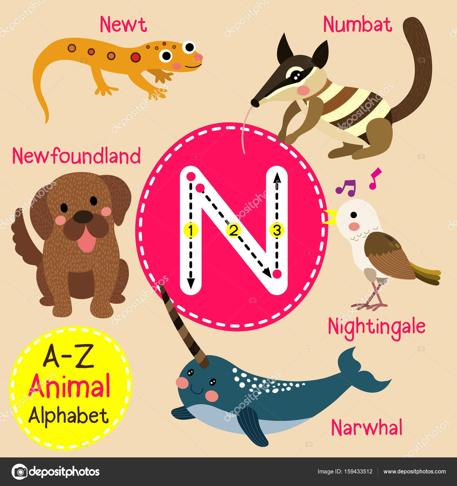 Cute children zoo alphabet n letter tracing of funny animal cartoon cute children zoo alphabet n letter tracing of funny animal cartoon for kids learning english vocabulary stopboris Choice Image