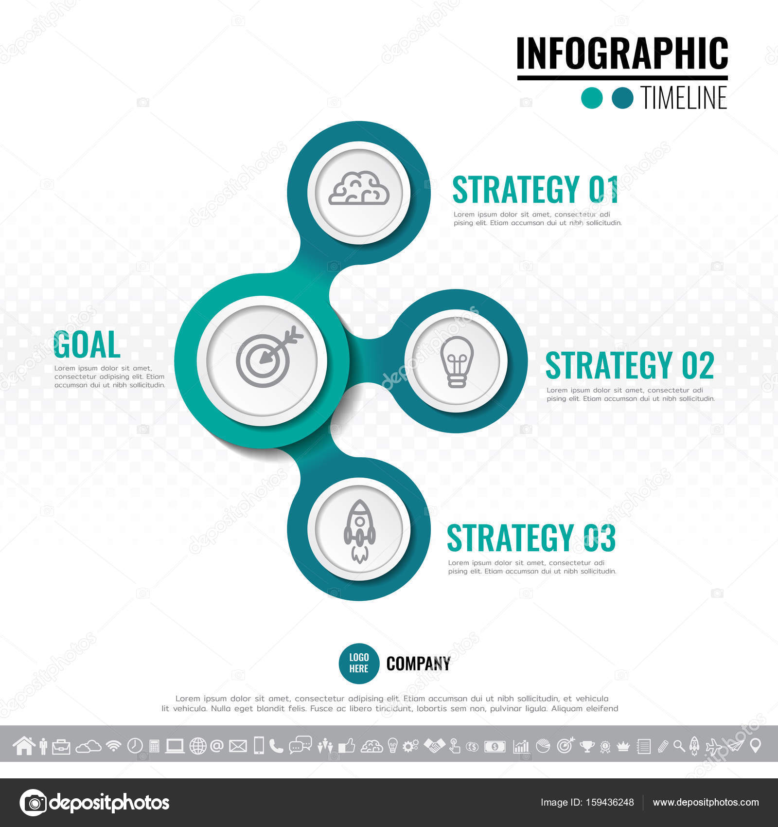 vector illustration of three steps options or processes timeline