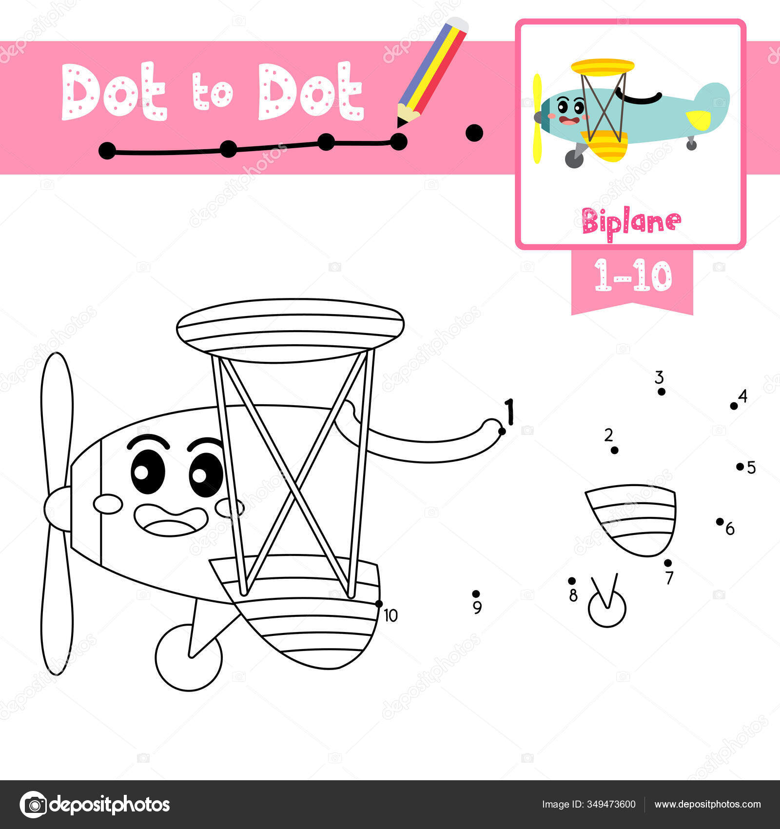 Dot Dot Educational Game Coloring Book Cute Biplane Cartoon Transportations Stock Vector C Natchapohn 349473600