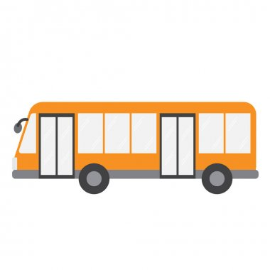 Bus transportation cartoon character side view isolated on white background vector illustration.