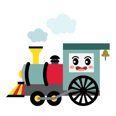Steam Engine transportation cartoon character side view isolated on white background vector illustration.