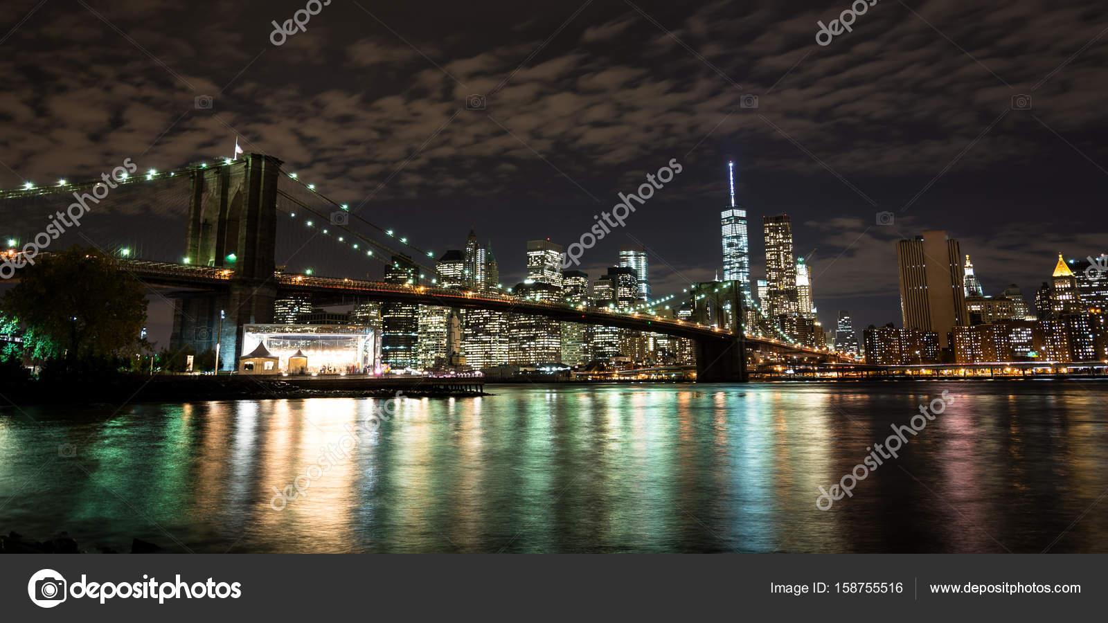 Manhattan Skyline At Night Wallpaper Brooklyn Bridge And