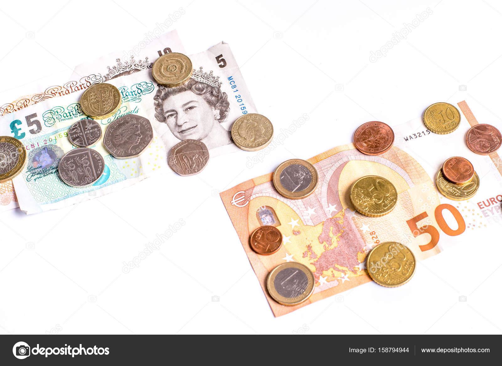 Britische Pfund Noten Und Münzen Und Euro Banknoten Und Münzen Auf