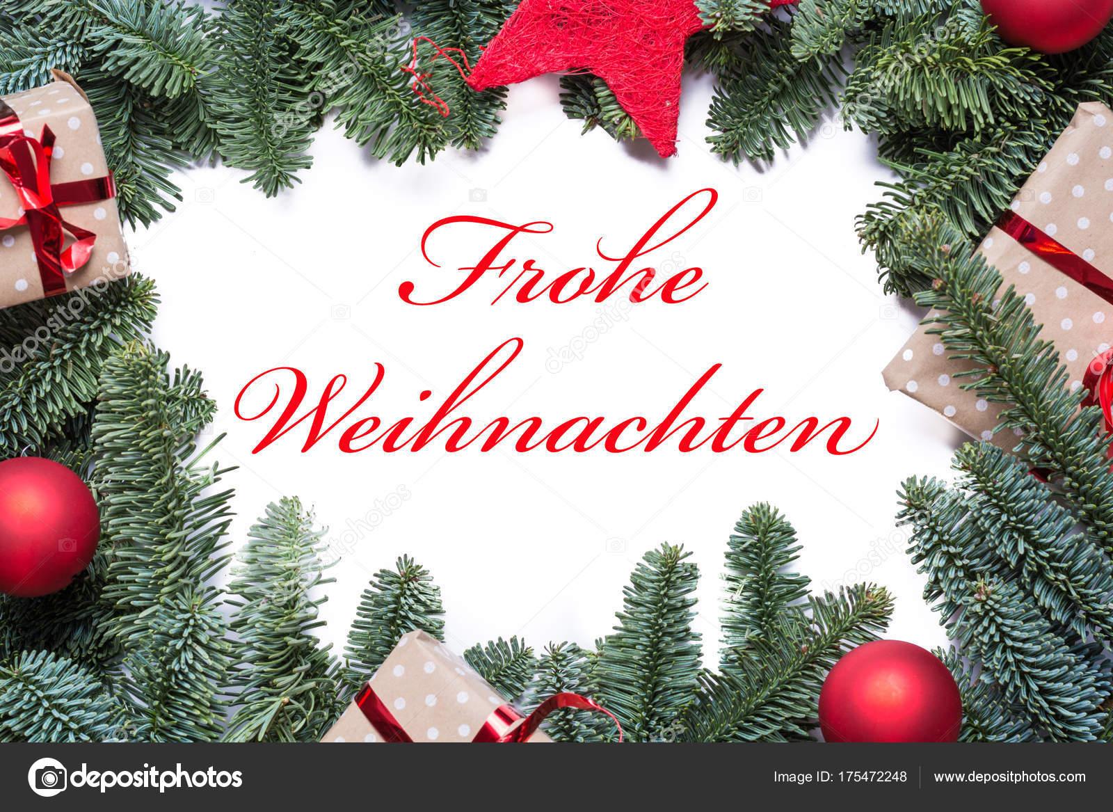 Frohe Weihnachten Rahmen.Frohe Weihnachten In Deutscher Sprache Auf Einem Weihnachten