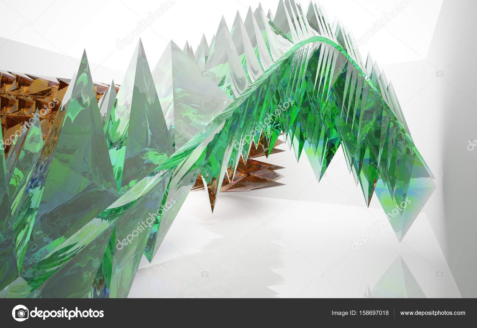 Minimalistische interieur met gekleurde glazen kristallen