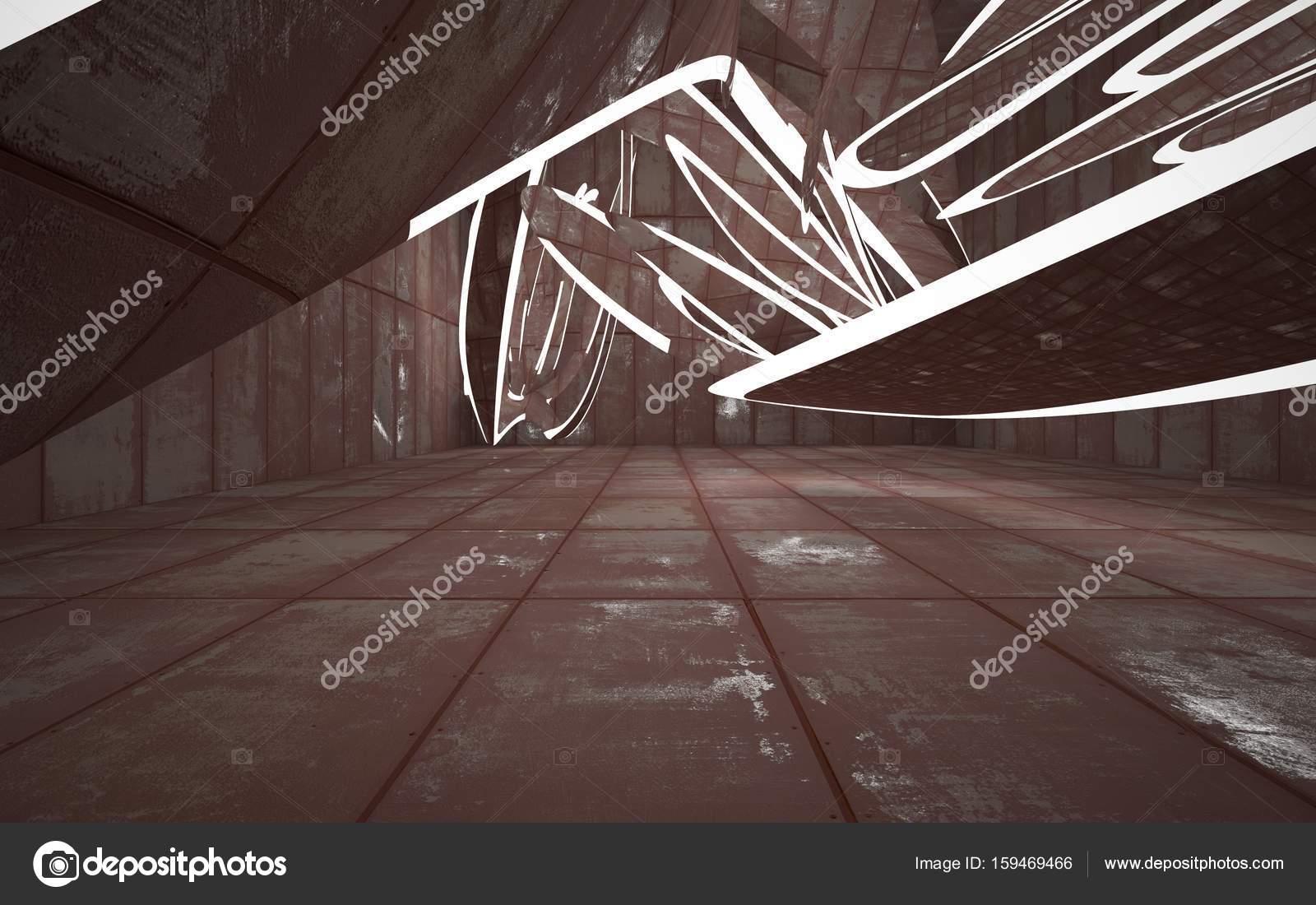 Interieur van de kamer van bladen verroeste metaal en beton ...