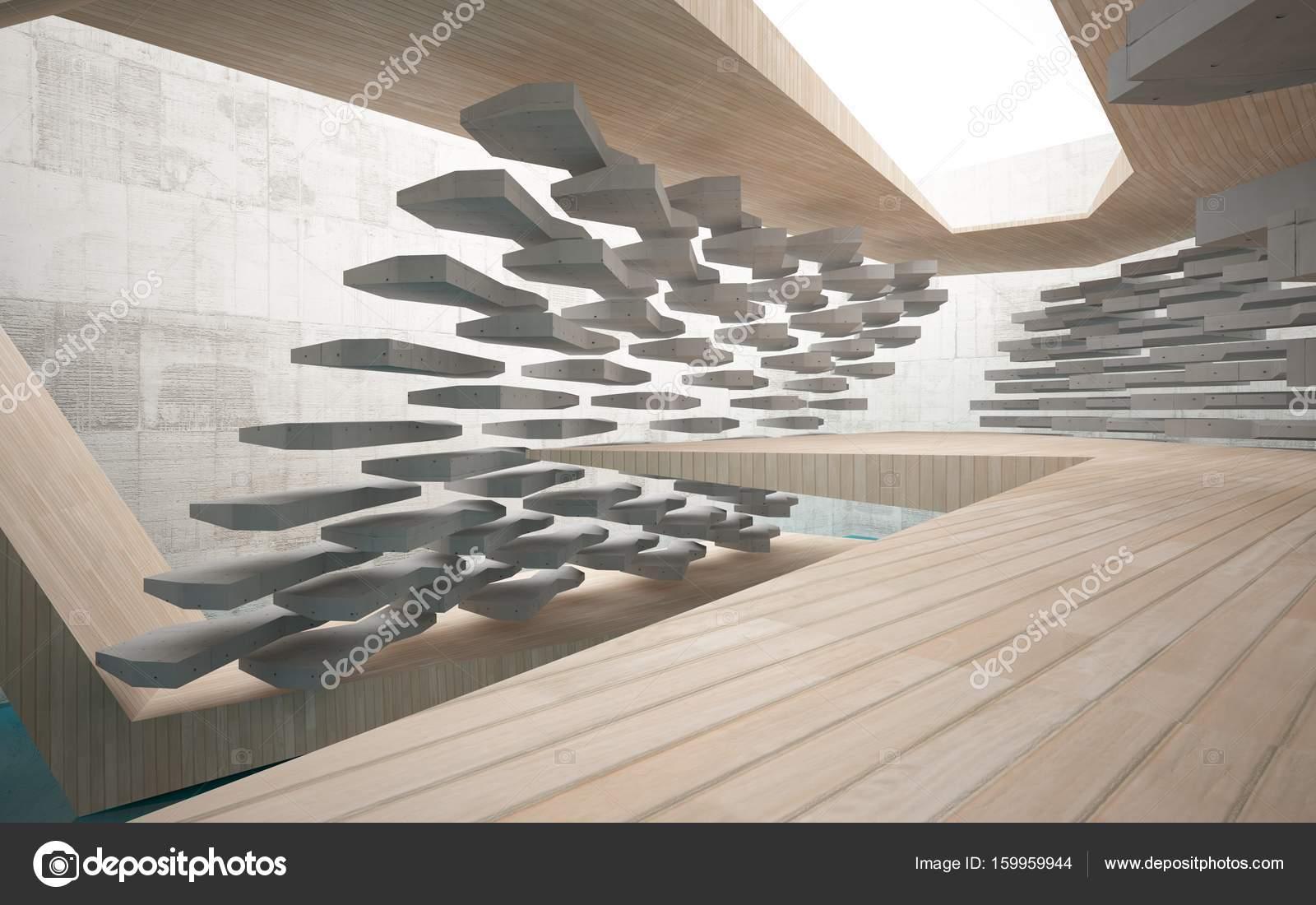 Beton In Interieur : Abstrakte interieur aus holz glas und beton u stockfoto
