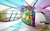 abstract architectural interior with glass sculpture