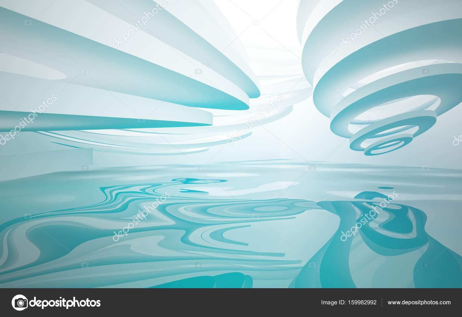 abstracte dynamische witte en blauwe interieur met gladde objecten 3d illustratie en rendering foto van sergeymansurov