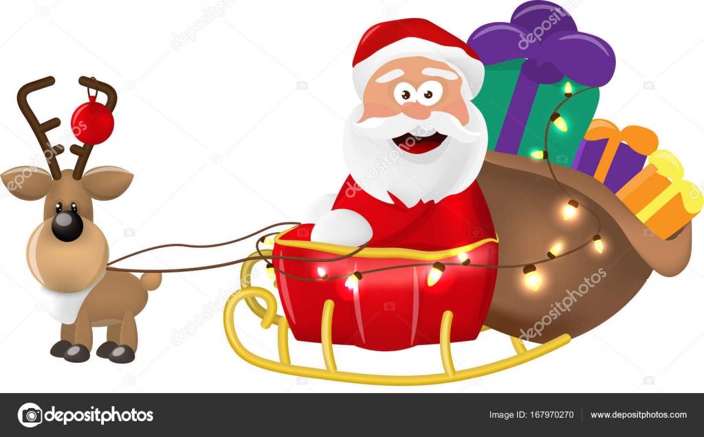 彼クリスマスそりまたはそりを提供するサンタ クロースのイラストが
