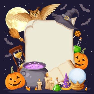 Halloween background with magic symbols. Vector eps-10.
