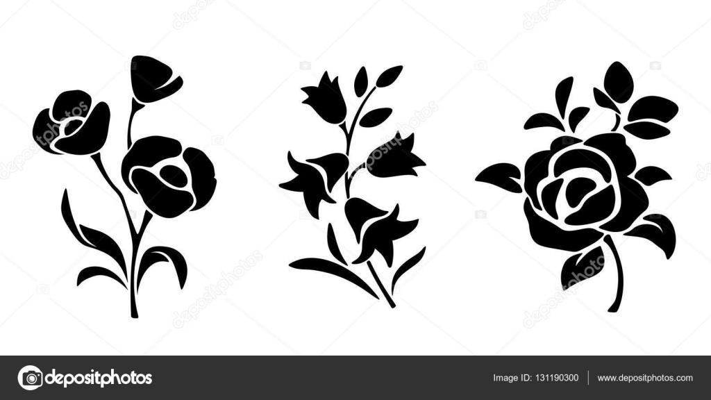 Negro Siluetas De Las Flores. Ilustración De Vector