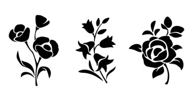 Three vector black silhouettes of flowers isolated on a white background. stock vector